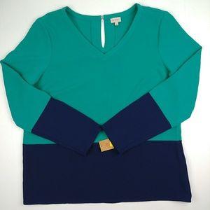 Cremieux Color Block Blouse V-Neck Keyhole